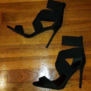 New black strappy stilettos
